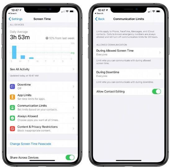 iOS 13.3 Beta包含屏幕时间通信限制