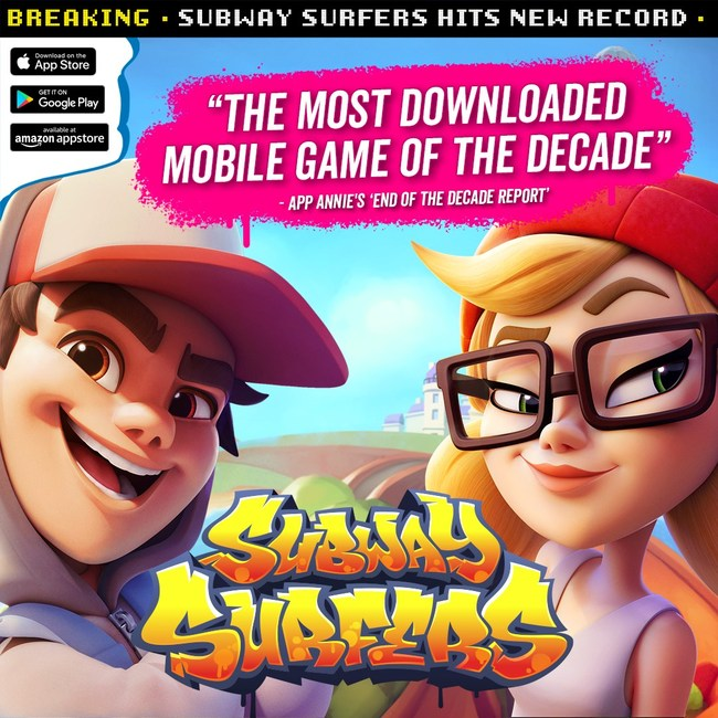 地铁冲浪者是十年来下载次数最多的手机游戏